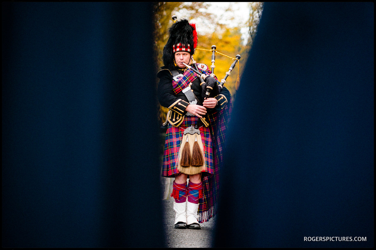Bagpiper at a Scottish Castle wedding