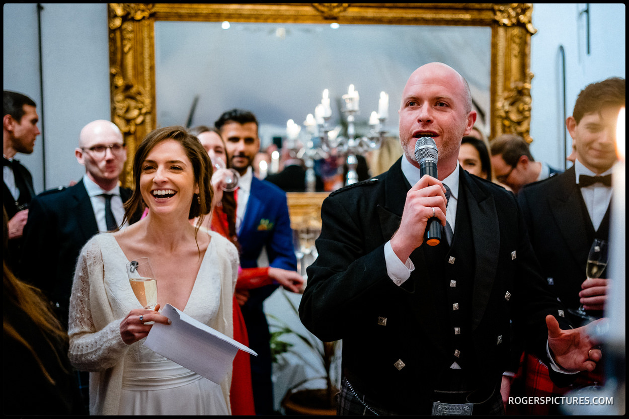 Speeches at a wedding in Scotland