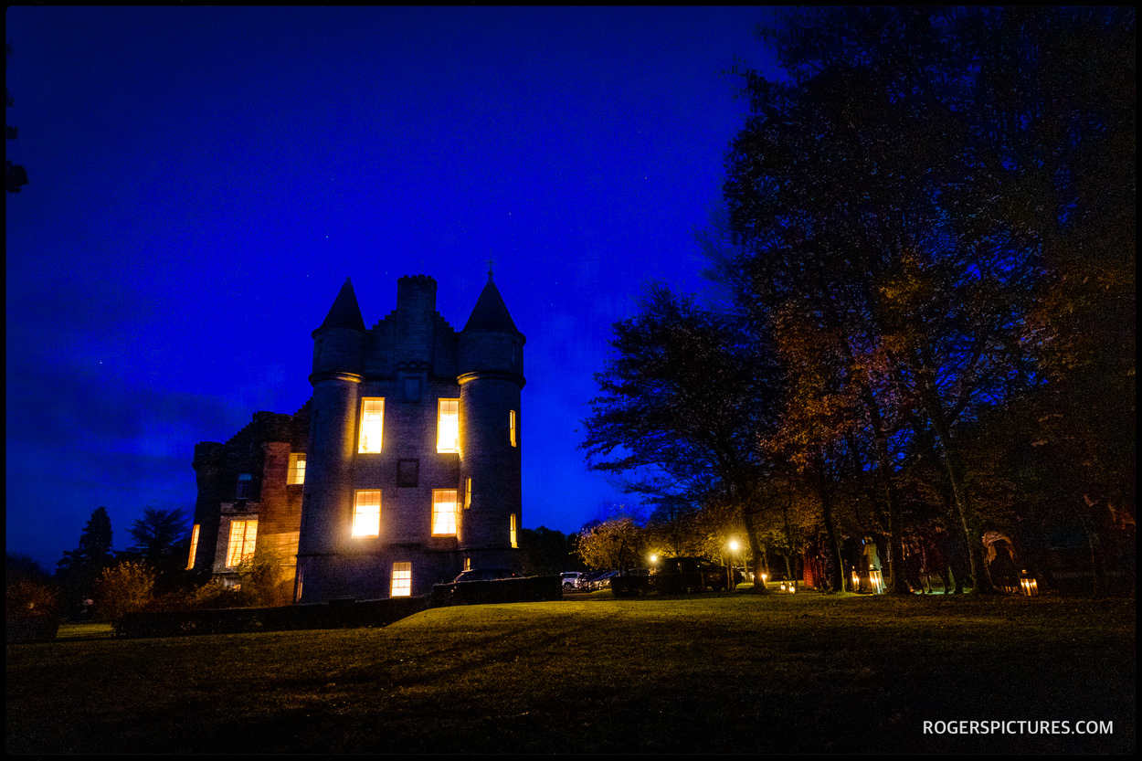Glenapp Castle at night