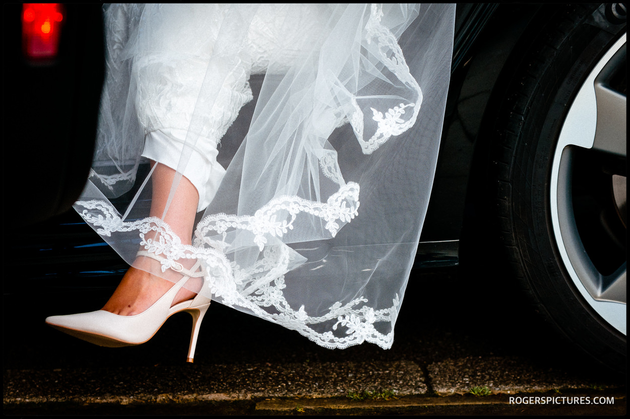 Bride arrives for wedding in Wigan
