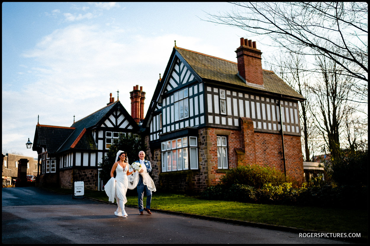Bride and groom at The Lodge wedding in Wigan
