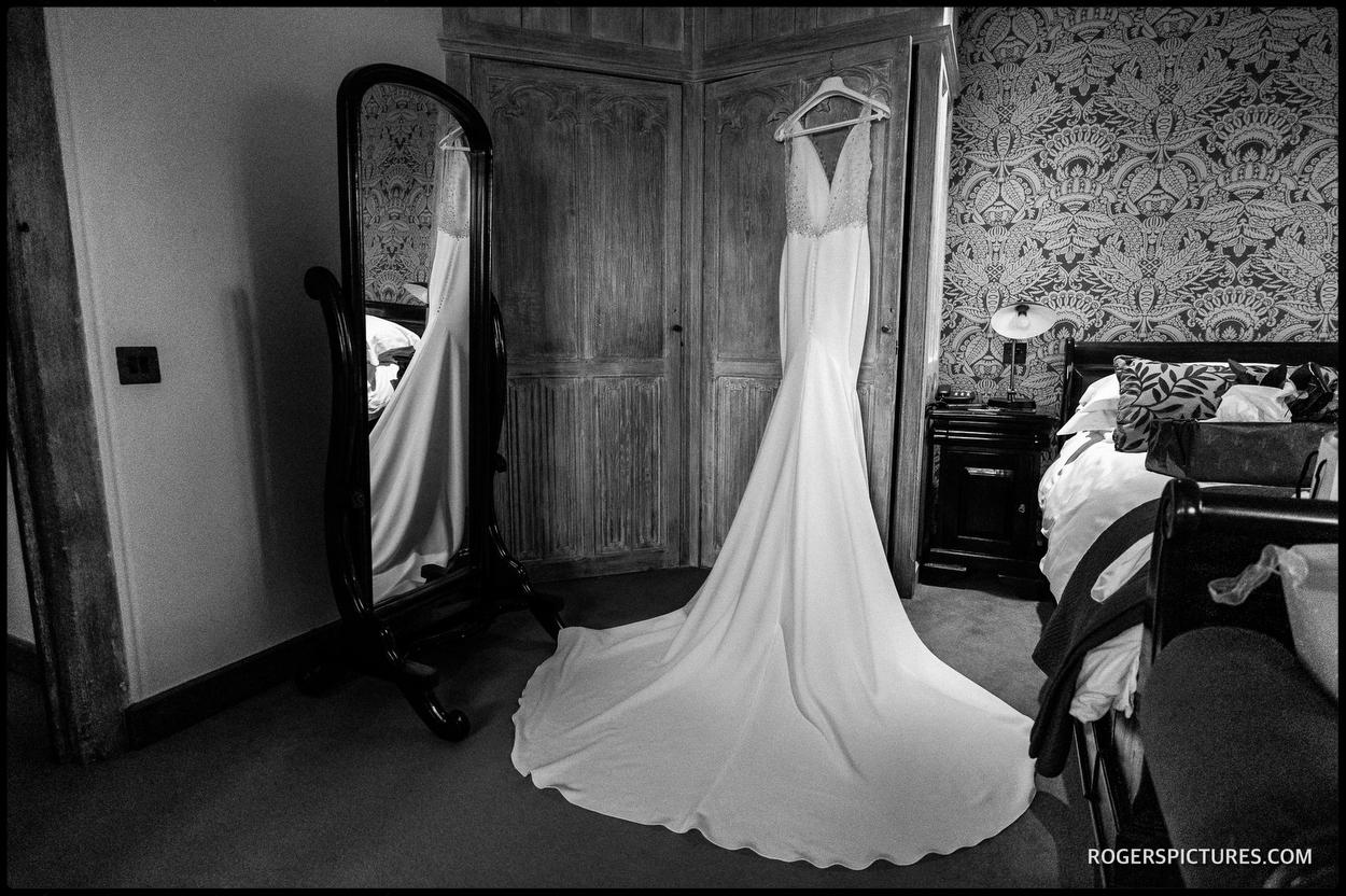 Wedding dress hanging at Leeds Castle
