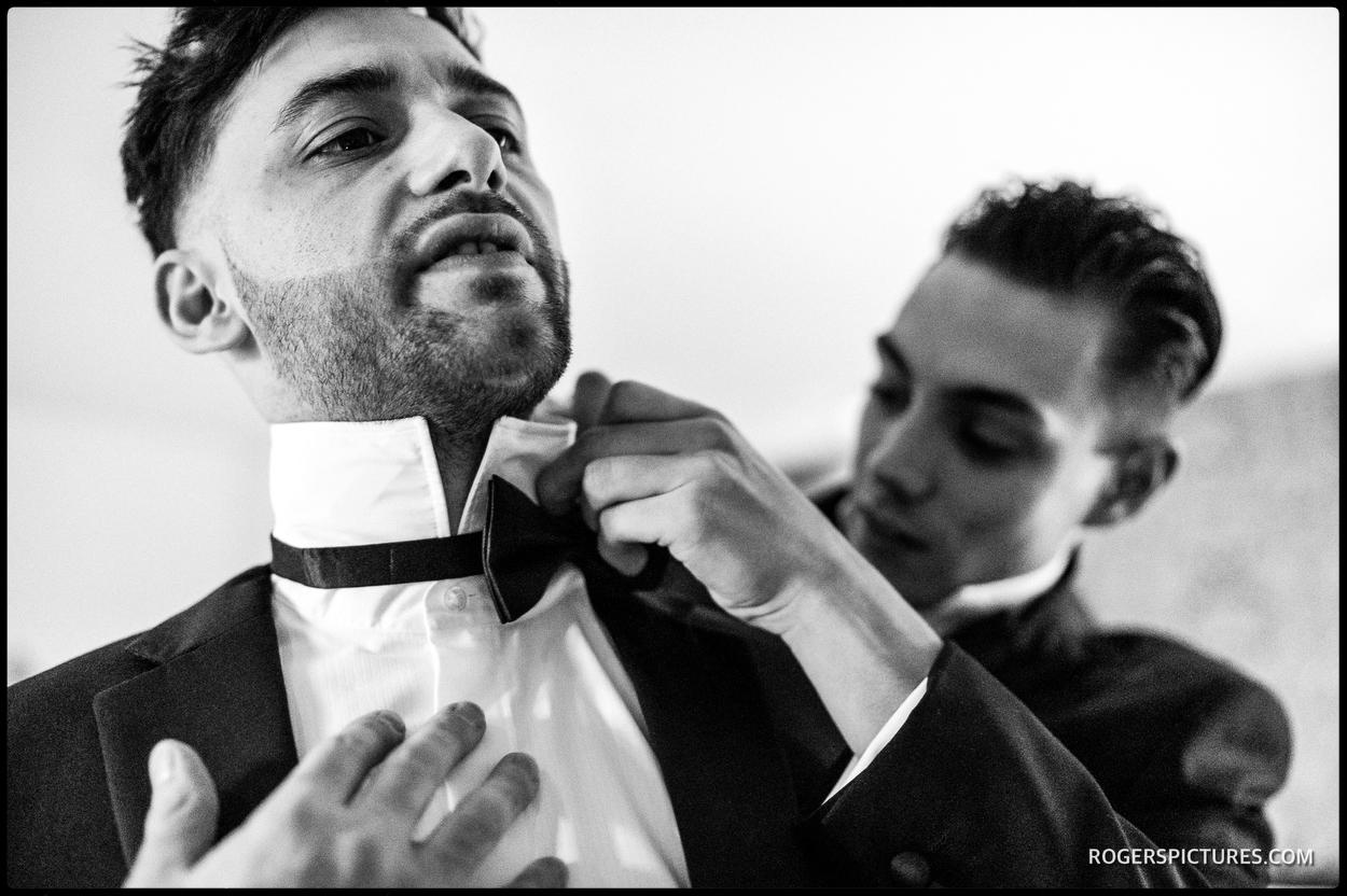Black and white photo of groomsmen