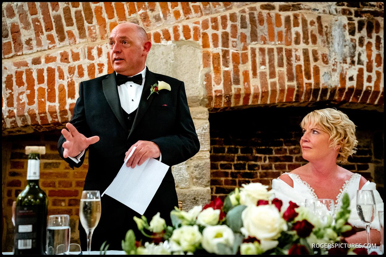 Groom speech at Maiden's Tower wedding in Kent