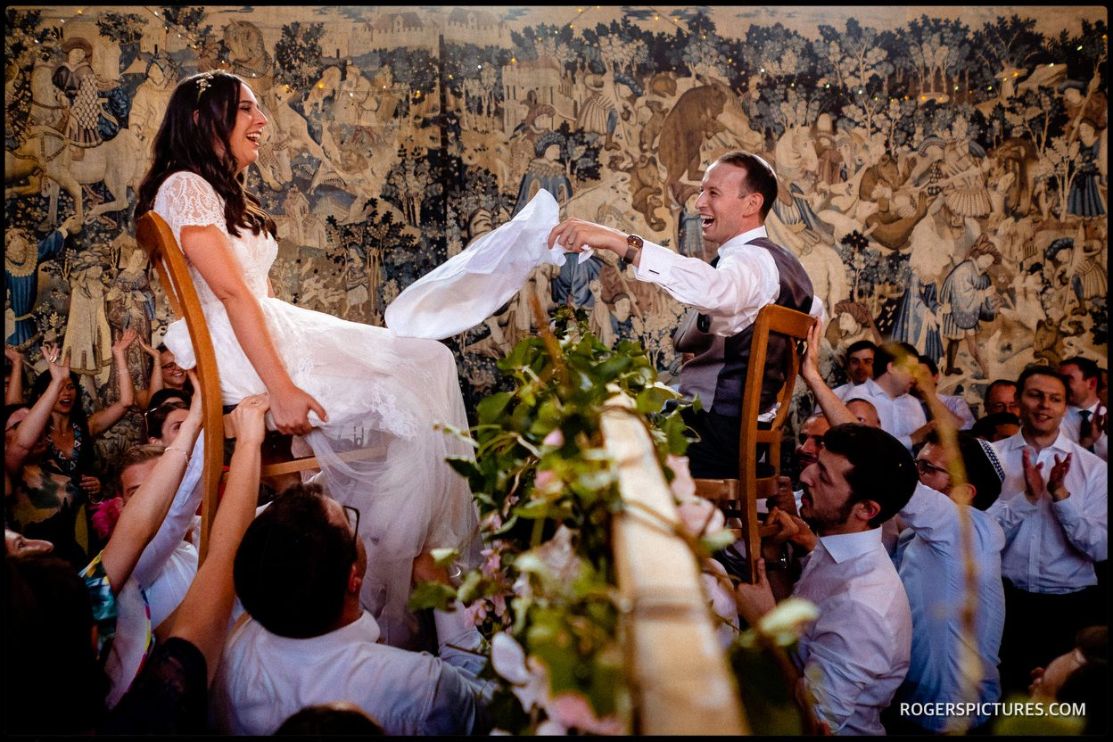 Israeli dancing from Jewish wedding with two wedding photographers