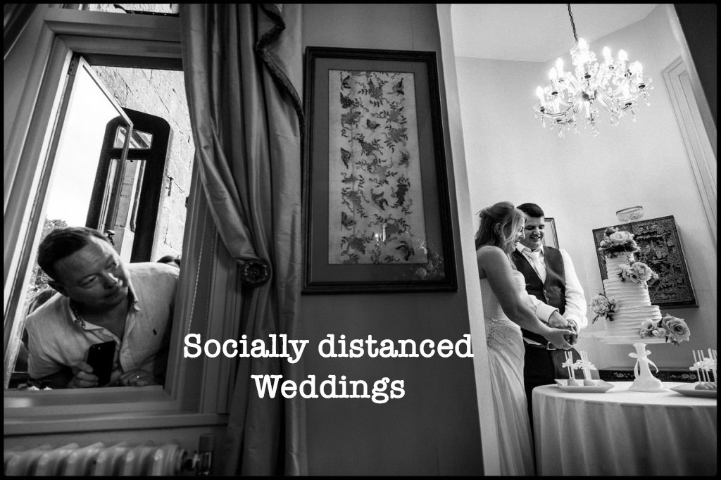Socially distanced wedding photography