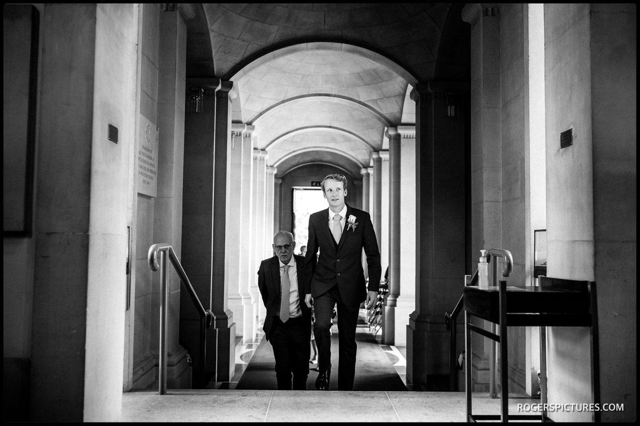 Groom arrives at Guards Chapel