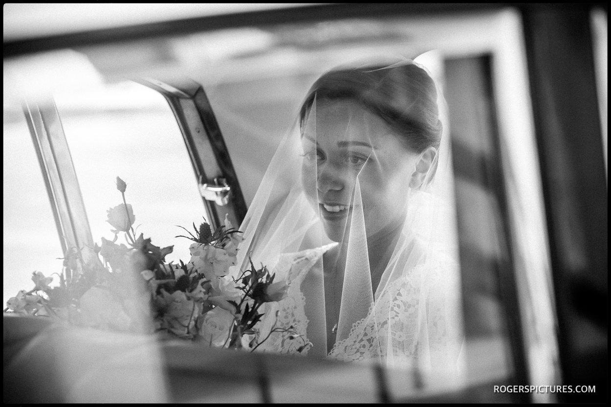 Bride arrives at Guards Chapel Wellington Barracks