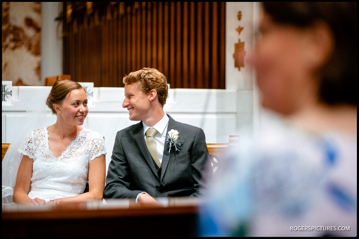 Newly married couple at Guards' Chapel in London