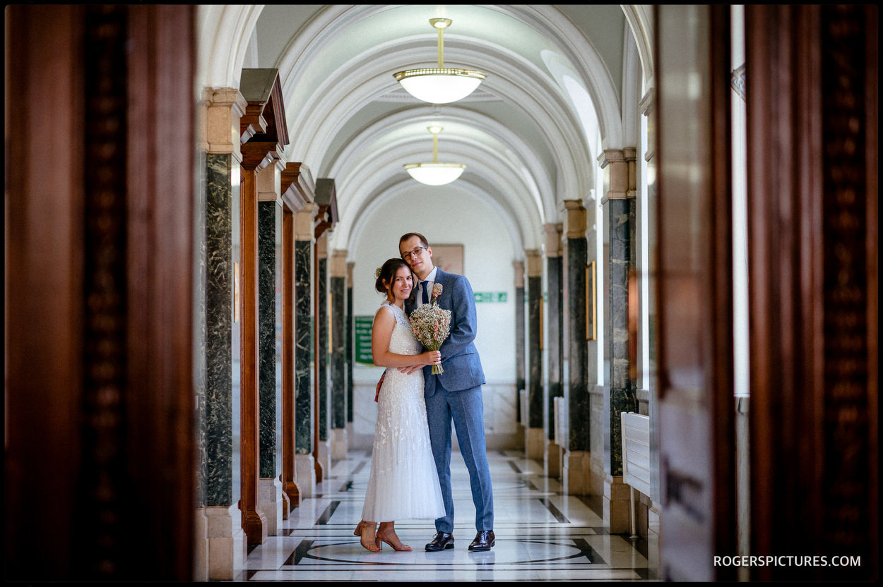 Couple wedding portrait at Islington Town Hall
