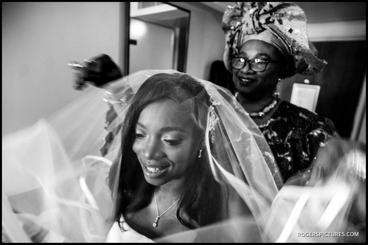 Bride in veil at Richmond Hill Hotel