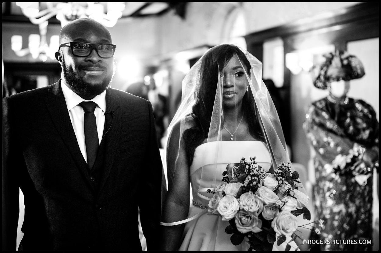 Black and white wedding photo at Richmond Hill Hotel