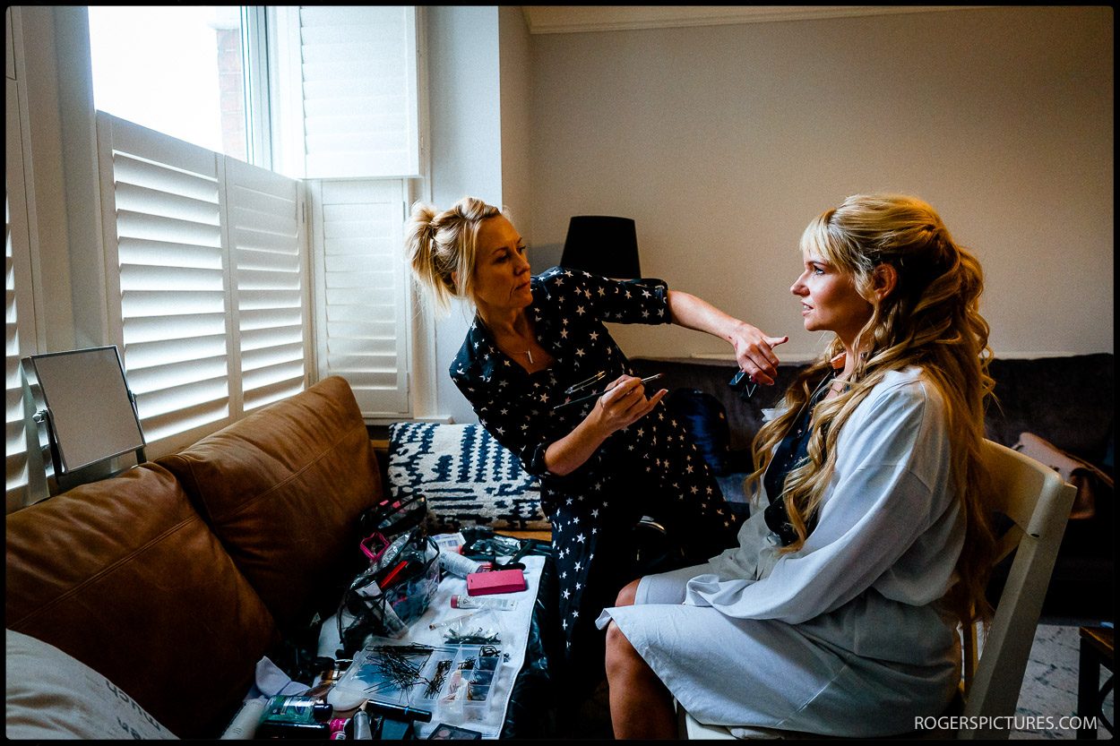 Bridal preparations before a Watford wedding