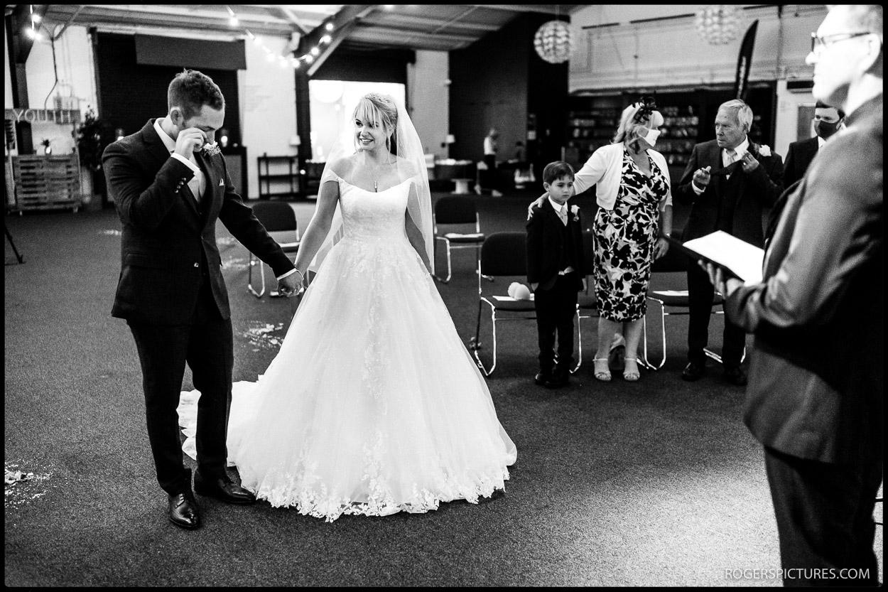 Emotional groom at Soul Survivor Watford wedding