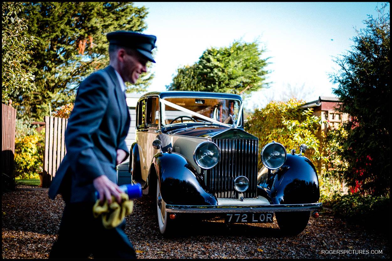 Wedding car before Hertfordshire church wedding