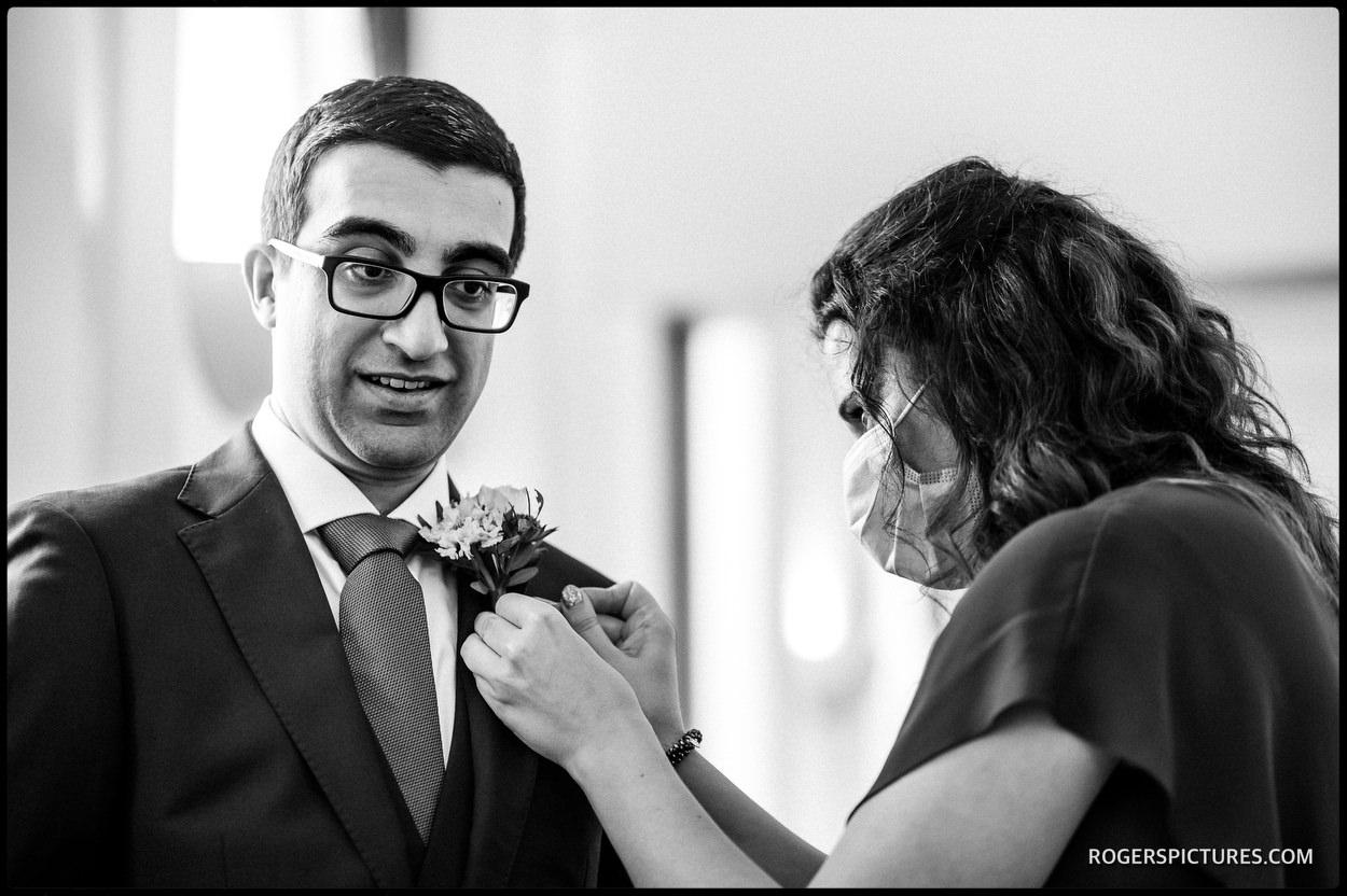 Groom before Tower Hamlets Registry Office Wedding