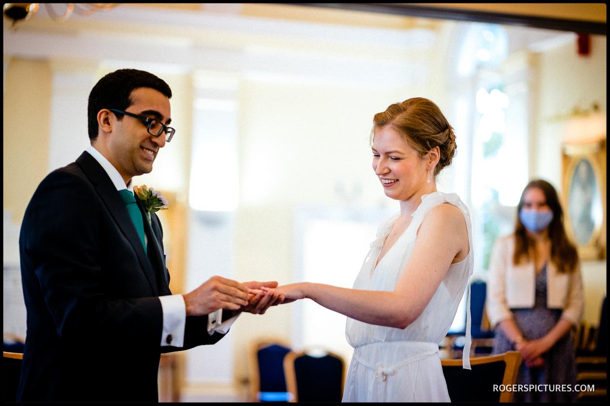 Exchange of rings at Tower Hamlets Registry Office Wedding