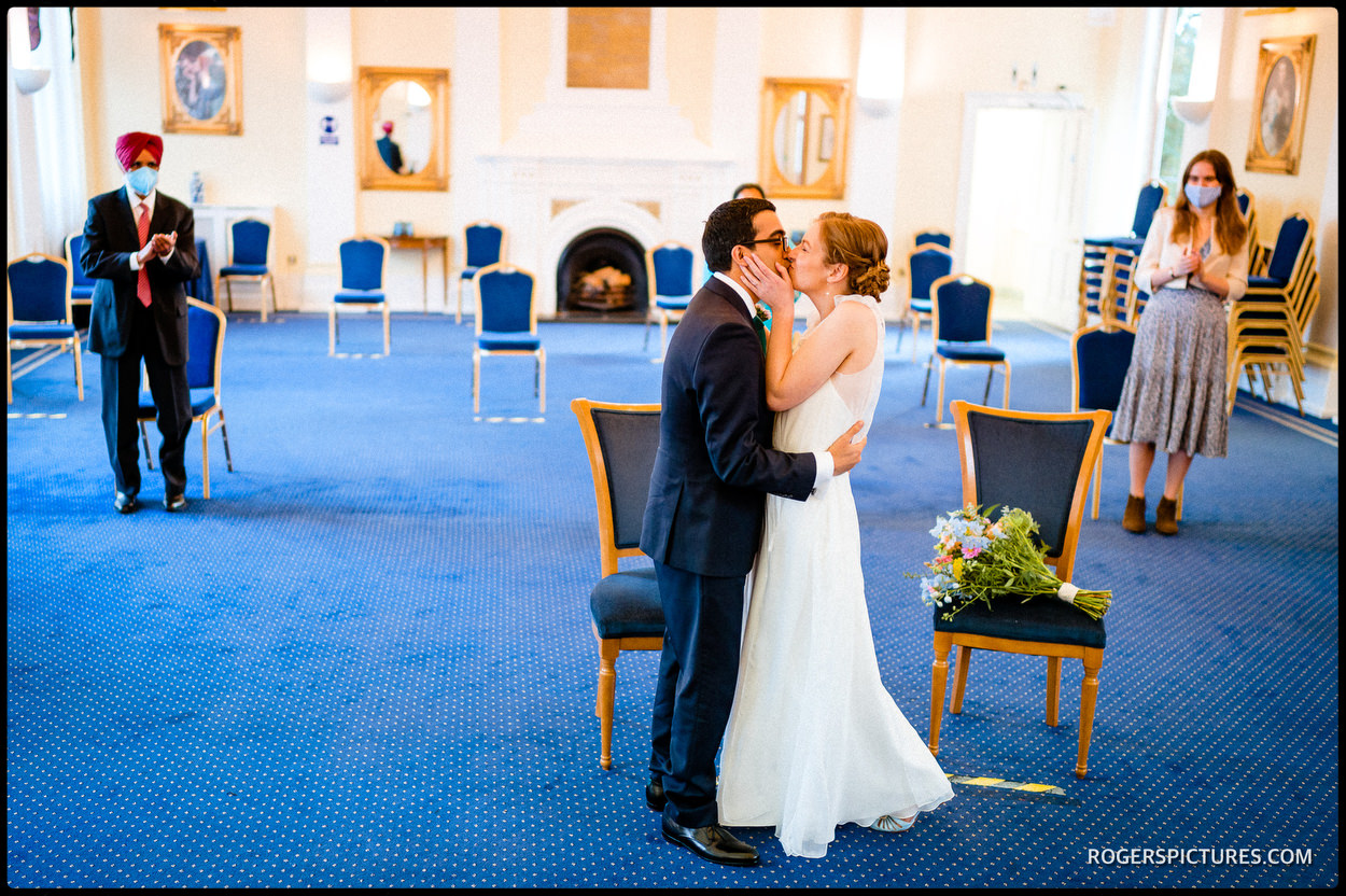 Newly married at Tower Hamlets Registry Office in London