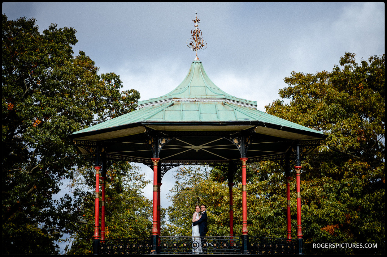 Wedding portrait at the bandstand in Greenwich Park