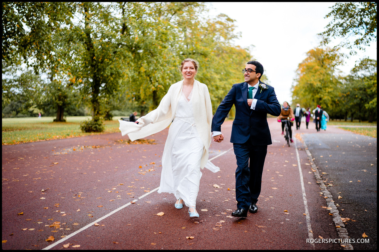 Newly wed couple in Greenwich Park South London