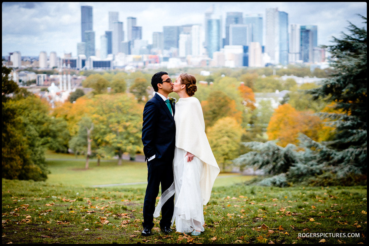 London skyline wedding photo