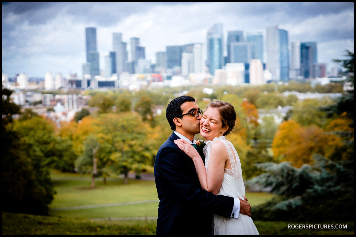 Portrait of bride and groom in London