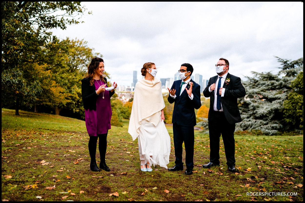 socially distanced wedding photography