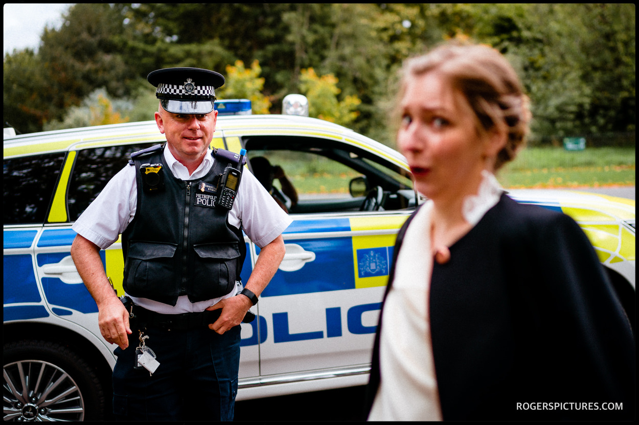 Police stop bride and groom in Greenwich Park