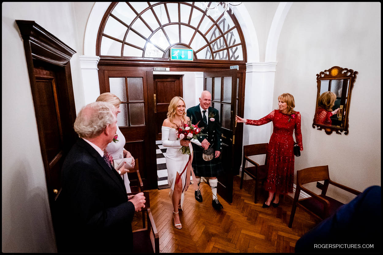 bride and father at chelsea town hall