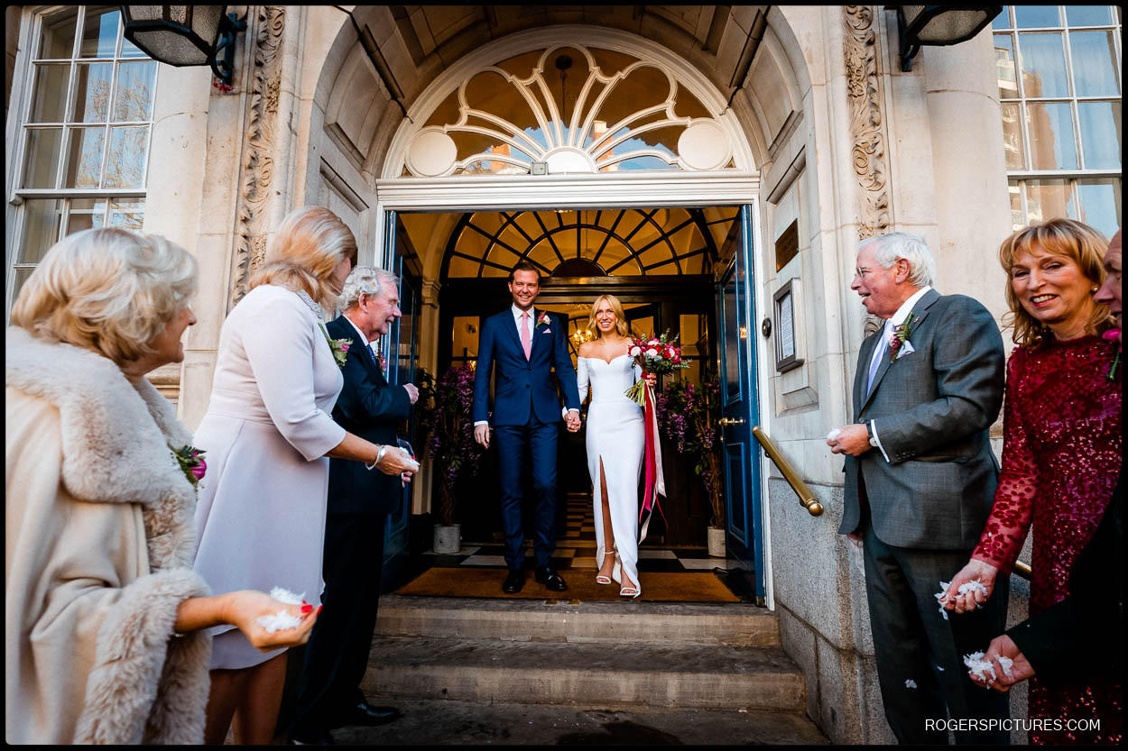 new weds on the steps at chelsea old town hall