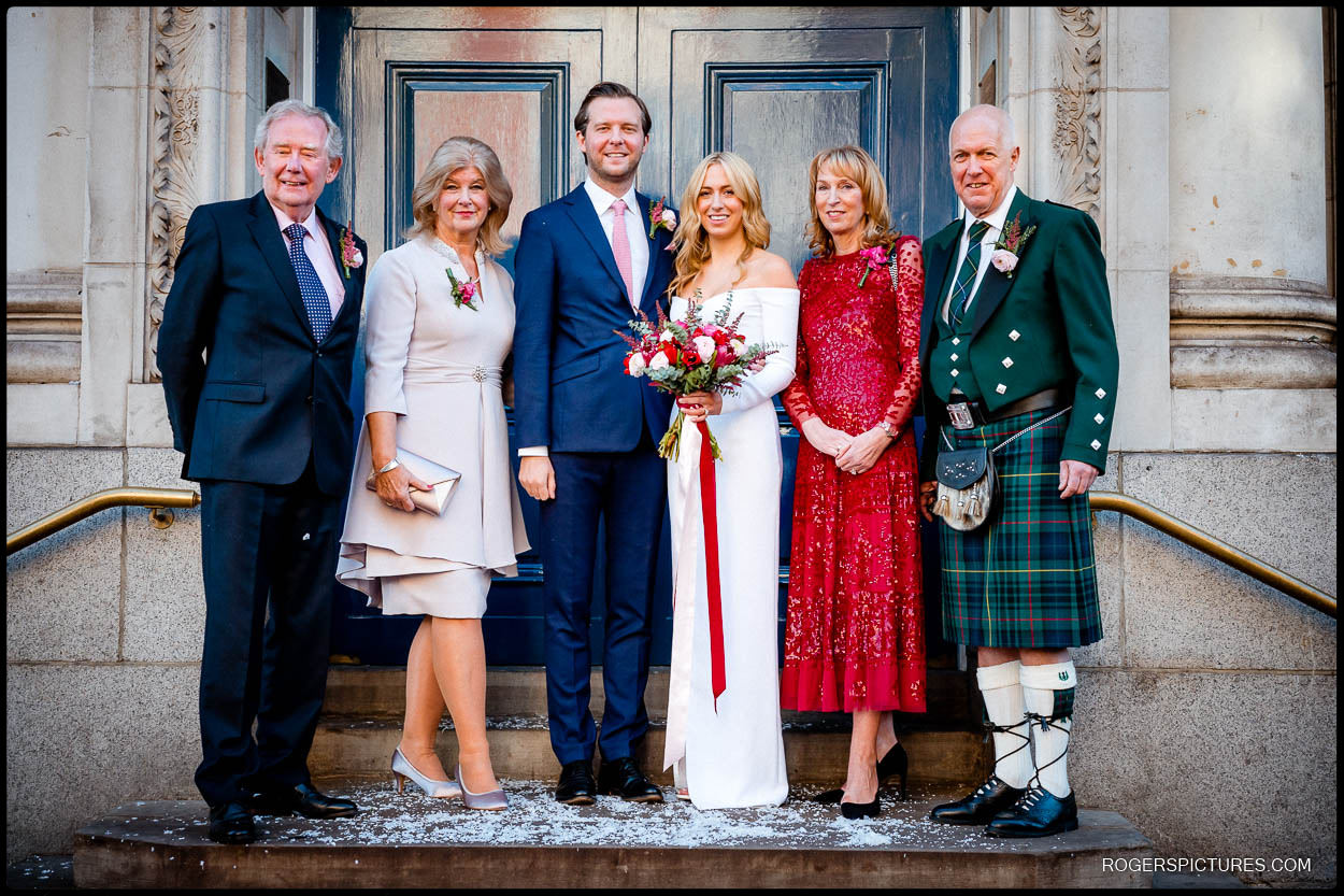 wedding family group photo at chelsea town hall