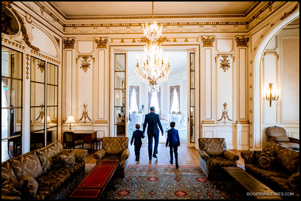 Groom and children at a Luton Hoo wedding
