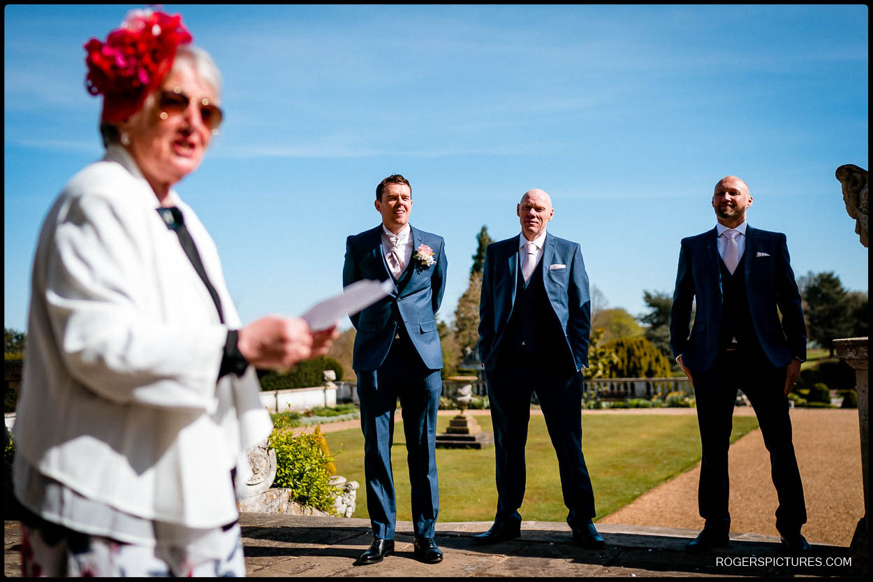Outdoor speeches at a wedding a at Luton Hoo