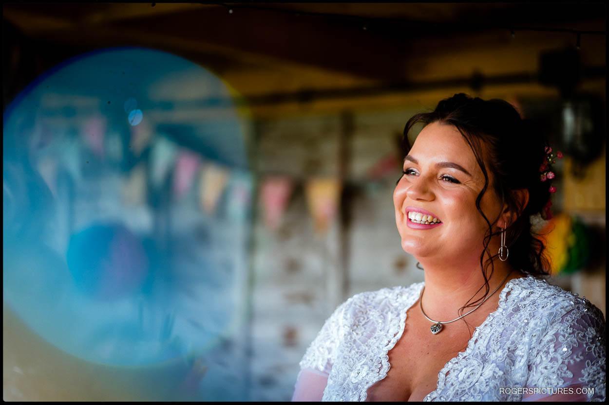 Glamping wedding bride in Kent outdoor wedding ceremony
