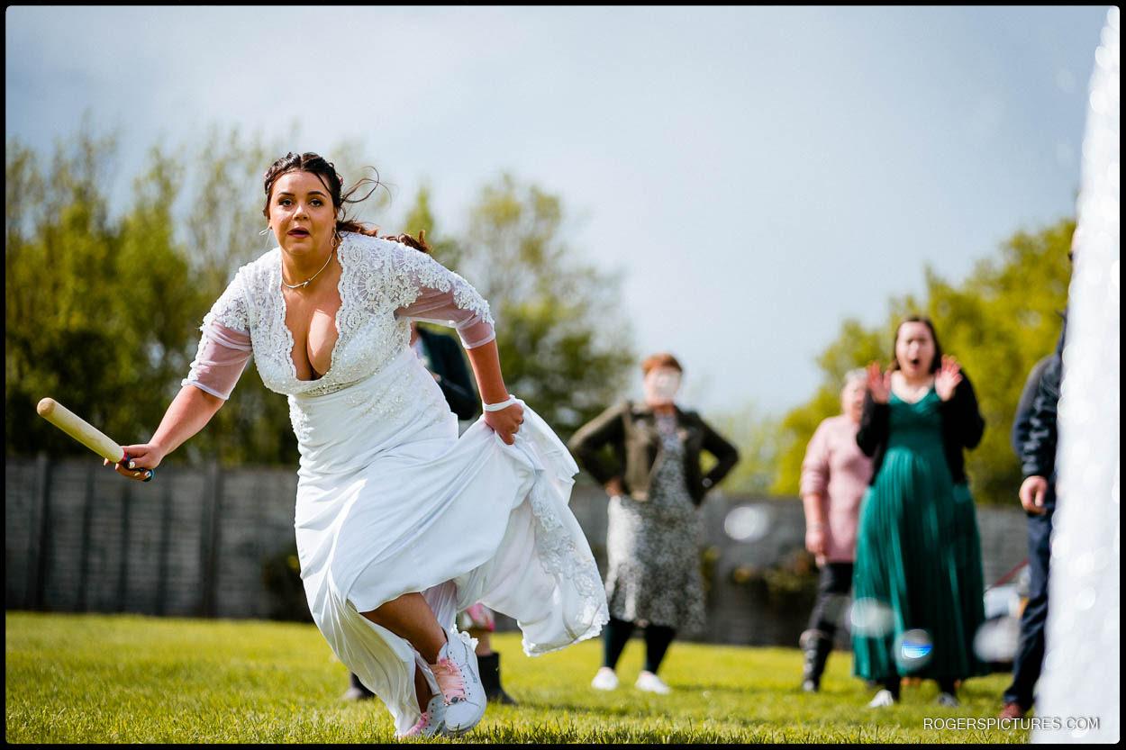Outdoor wedding games in a field