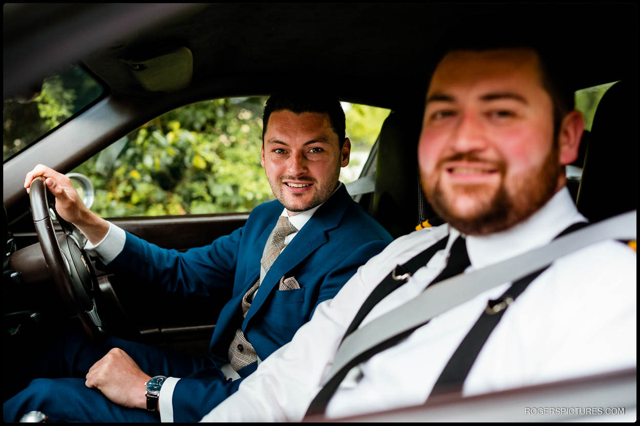 Grooms arriving at St Albans Cathedral