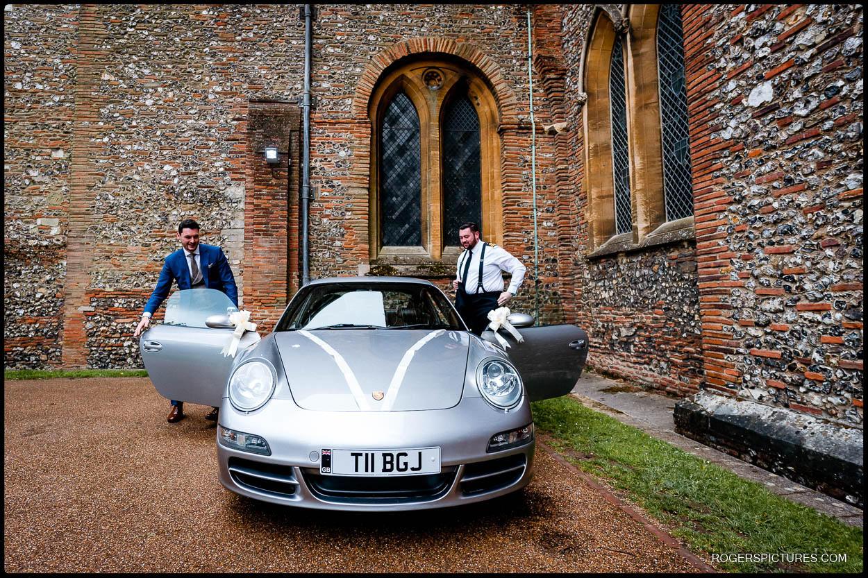 Porsche wedding car at St Albans Cathedral wedding