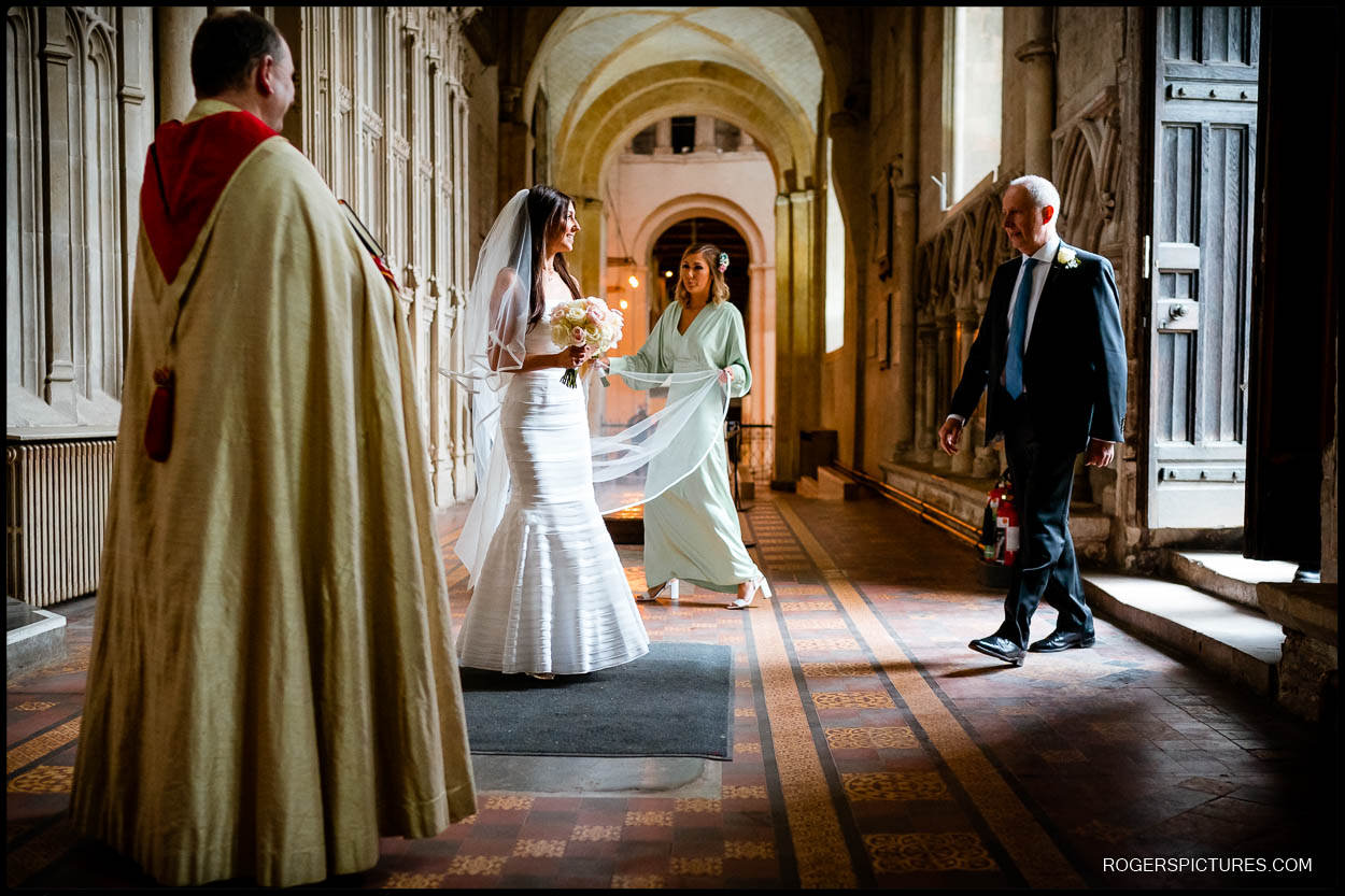 Bride and Father arrive for St Albans Cathedral wedding