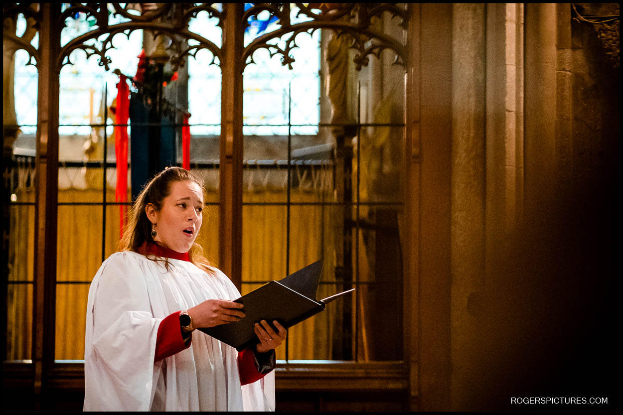 Chorister sings at St Albans Cathedral wedding