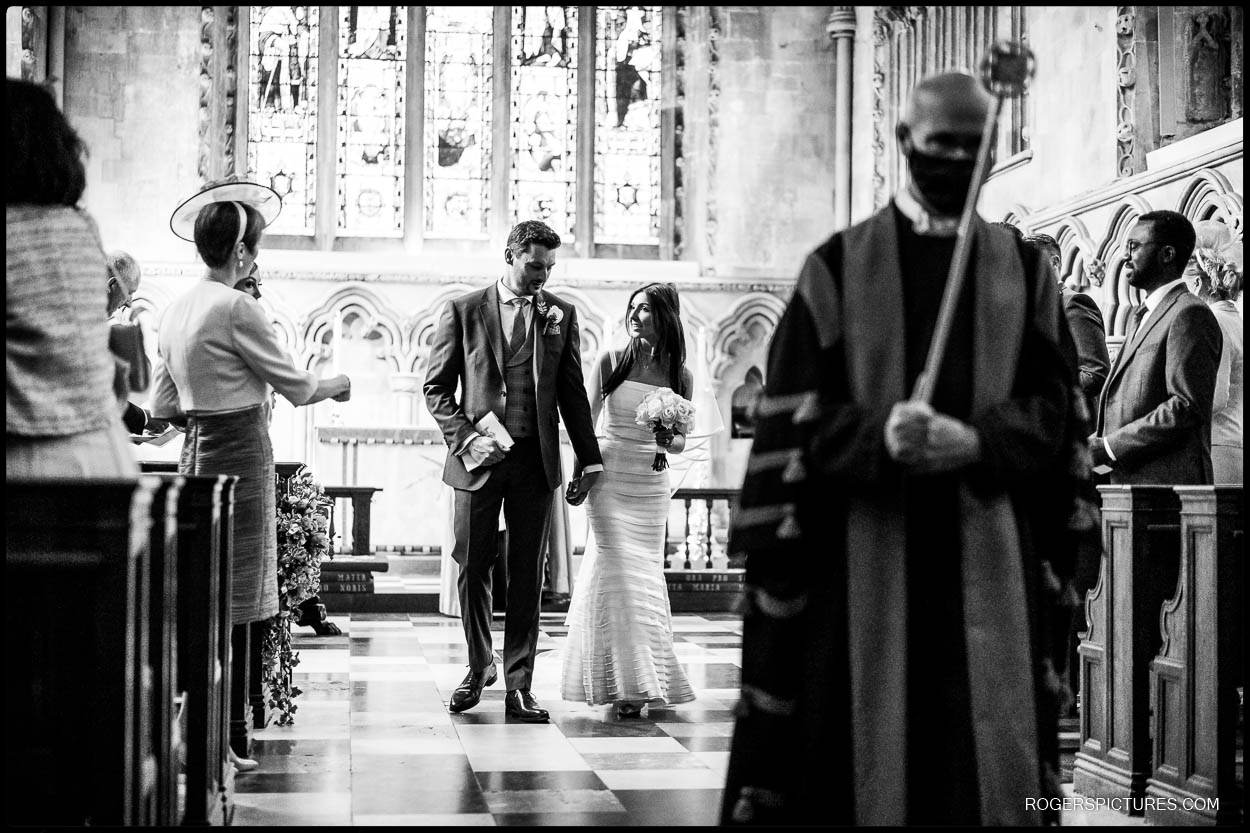 Recessional at St Albans Cathedral wedding