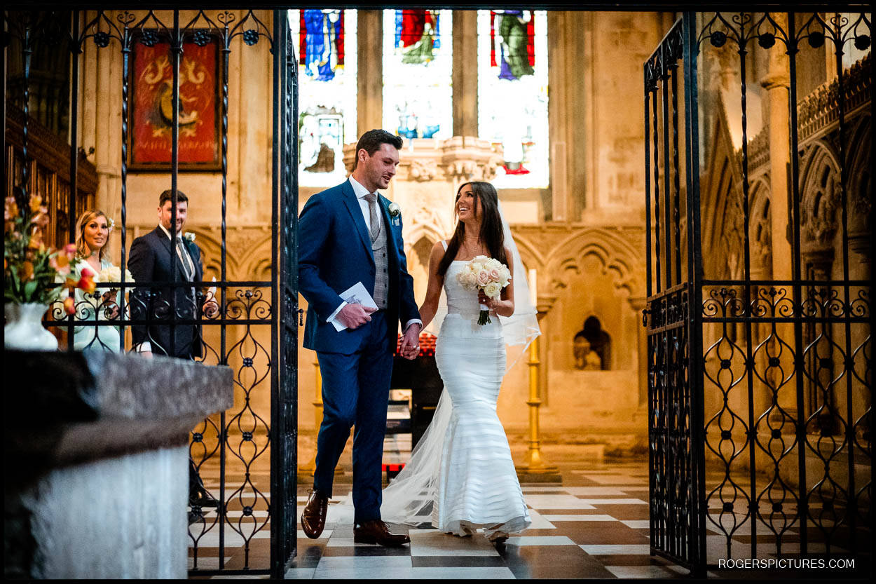 Bride and Groom leaving Lady Chapel at St Albans Cathedral wedding