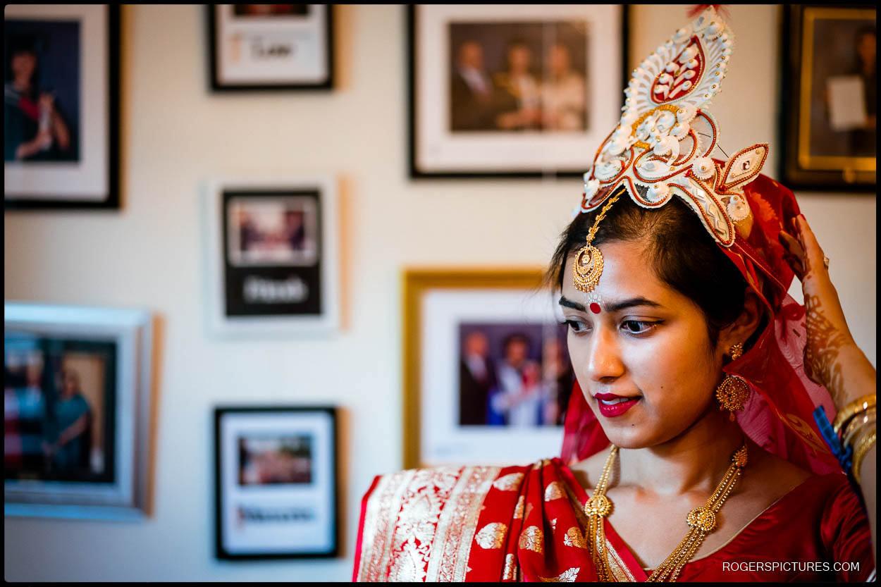 Bengali wedding bride getting ready