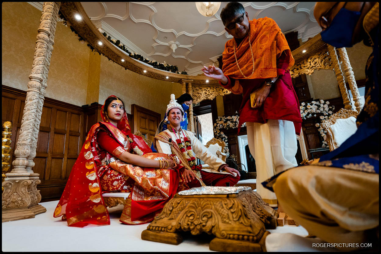 Indian wedding ceremony in the Great Hall at Froyle Park