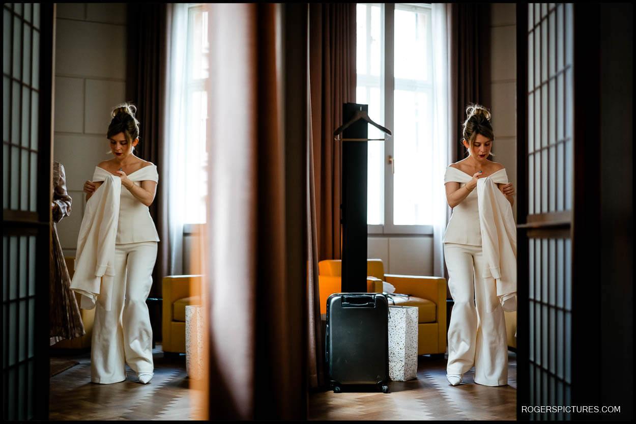 Bridal preparations in London Hotel
