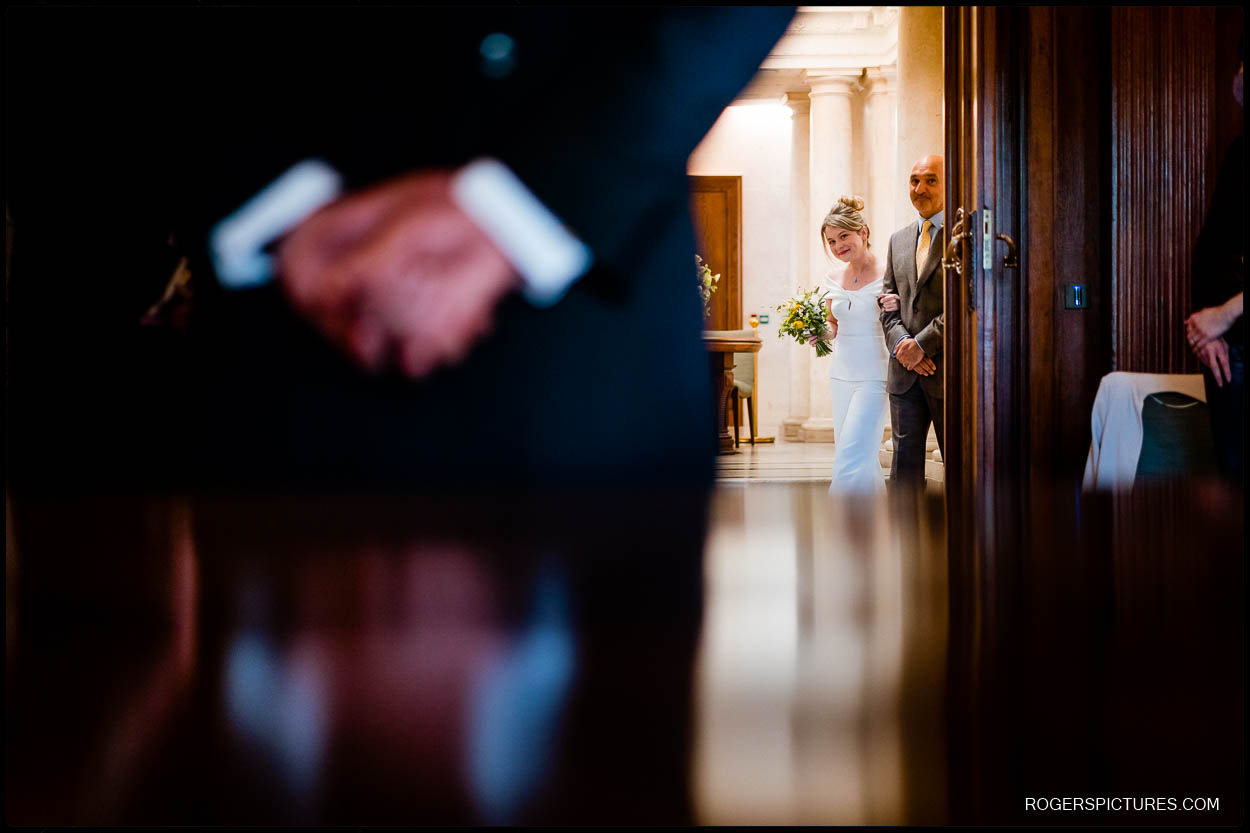 Wedding ceremony at Old Marylebone Town Hall in London