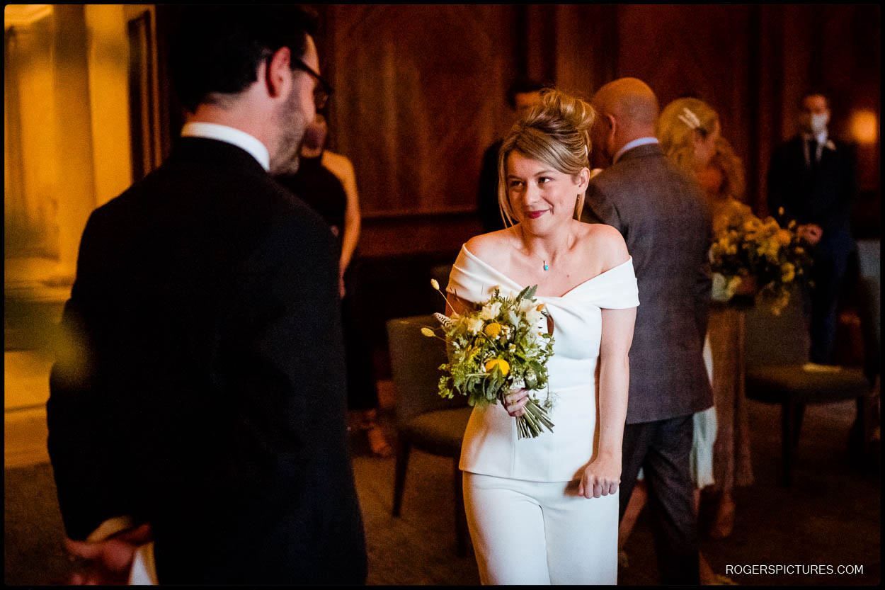 Excited bride at Old Marylebone Town Hall