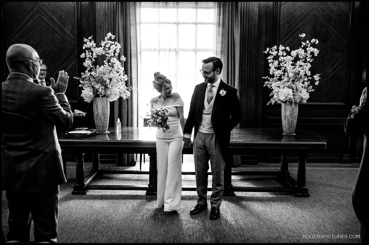 Newly weds at Old Marylebone Town Hall