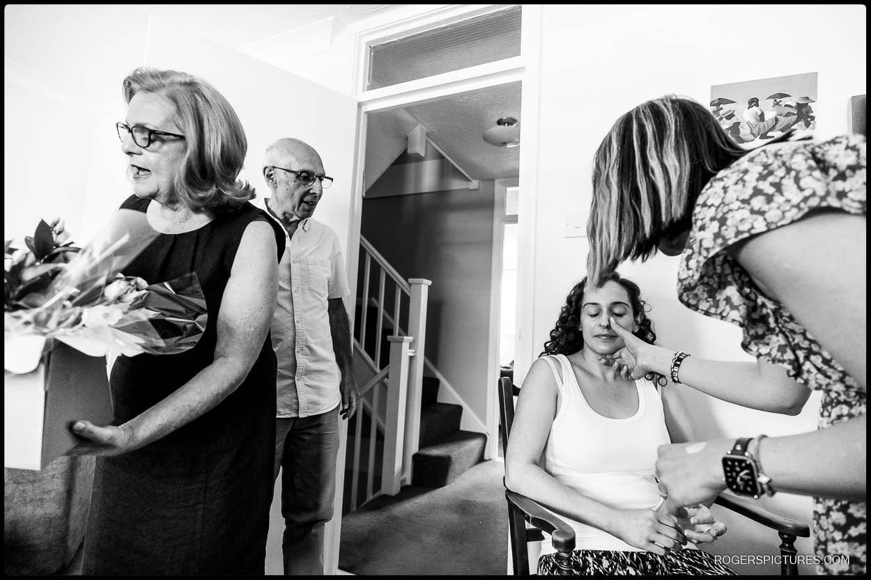 Bride getting ready before Jewish wedding