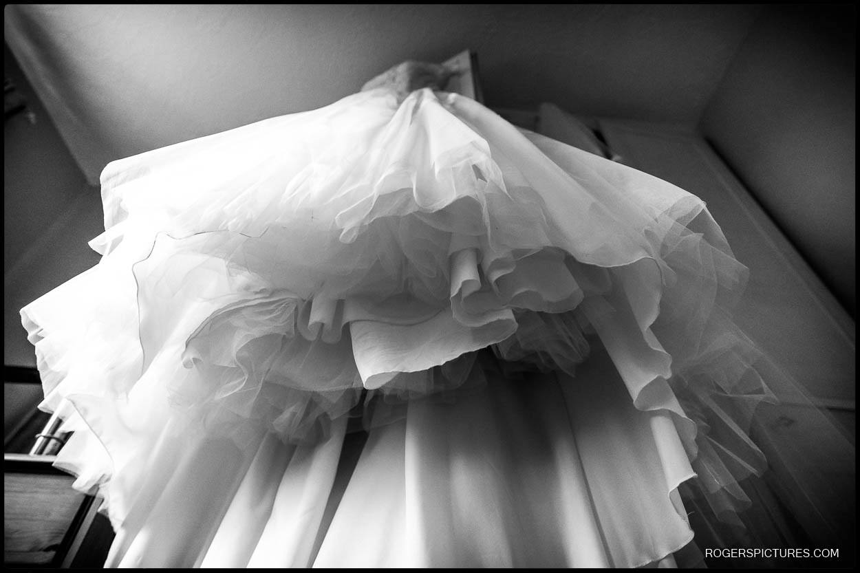 Black and white photo of wedding dress