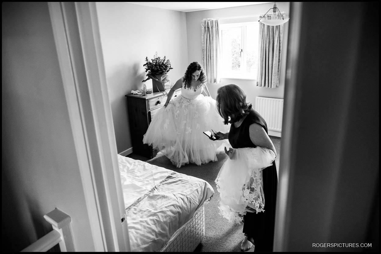Bride ready to leave for wedding
